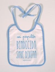Babero infantil - Mi papilla bendecida sabe divina (azul)