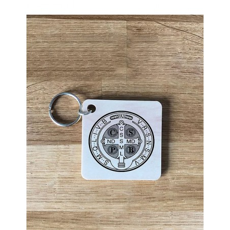 Llavero de madera - Medalla de San Benito