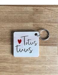 Llavero de madera - Totus Tuus (corazón)