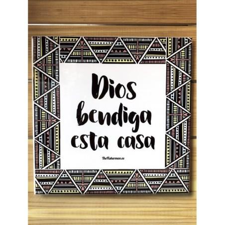 "Azulejo · Dios bendiga esta casa (Estilo ""Boho"" 80's)"