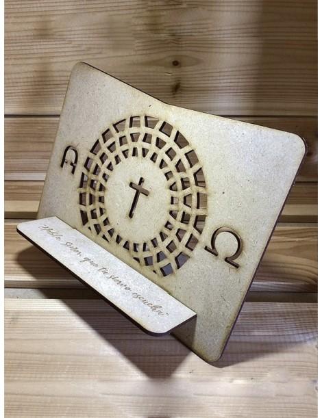 Atril de madera · Alfa y Omega (para Biblia)