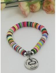 """""""Detente"""" · pulsera multicolor con medalla acero colgante"""