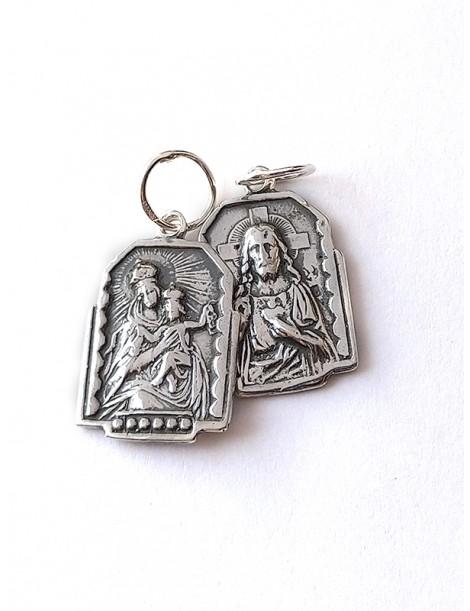 """""""Escapulario"""" rectangular plata de Ley Sagrado Corazón & Virgen del Carmen."""