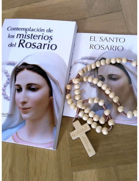 Pack Rosario de madera + libro + folleto