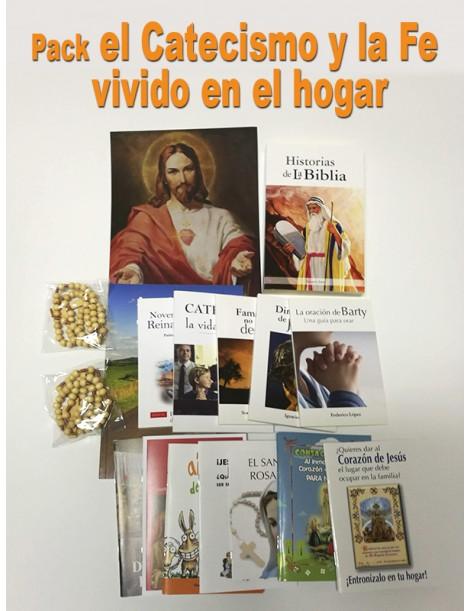 Pack el Catecismo y la Fe  vivido en el hogar (14 libros + 2 rosarios + imagen Sagrado Corazón)