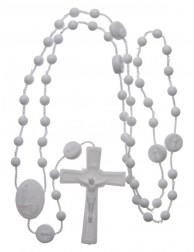 25 Rosario nylon blanco Nuestra Señora de Fatima 6 mm