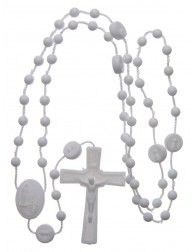 25 white nylon rosary of...