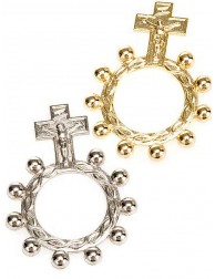 Denario rosario anillo plateado o dorado
