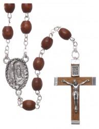 Rosario de Madera natural Virgen de Lourdes