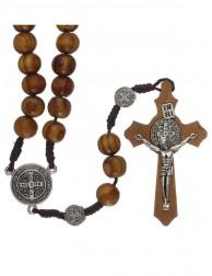 Rosario de Madera Olivo Medalla San Benito