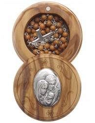 Caja de olivo imagen Sagrada Familia con rosario de madera 5 mm