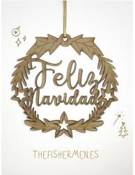 Corona de madera · Feliz Navidad