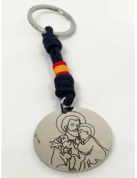 """Llavero · """"San José"""" · Acero 3,5 cm cordón paracaidista"""
