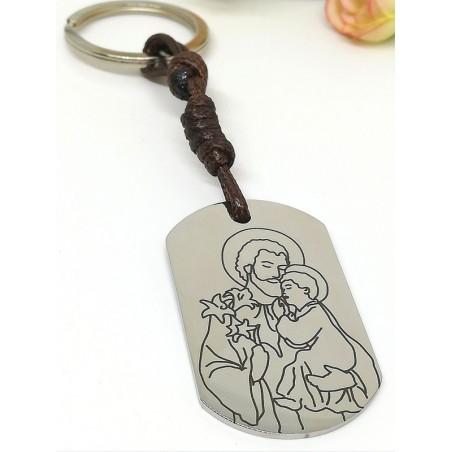 """Llavero · """"San José"""" · Medalla militar acero cordón encerado marrón"""