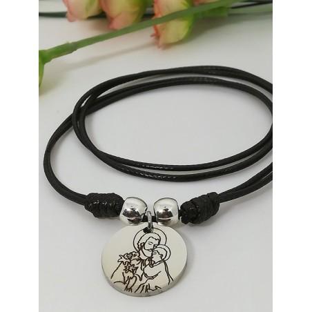 """Gargantilla · """"San José"""" Medalla y bolas Acero cordón encerado doble nudo"""