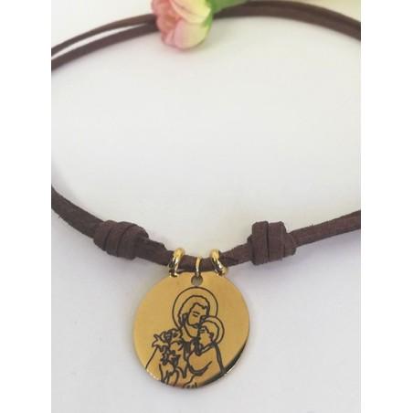 """Gargantilla · """"San José"""" Medalla y bolas Acero dorado cordón antelina"""