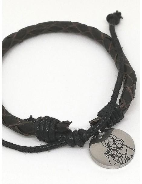 """Pulsera · """"San José"""" · Acero 1,6 cm pulsera cuero trenzado"""