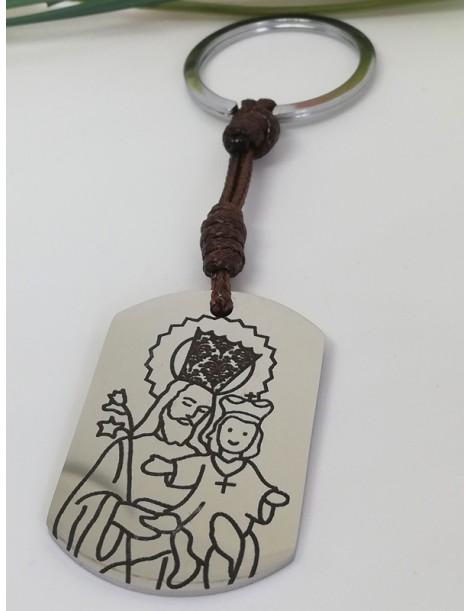 """Llavero · """"San José de la Montaña"""" · Medalla Militar Acero cordón encerado marrón"""
