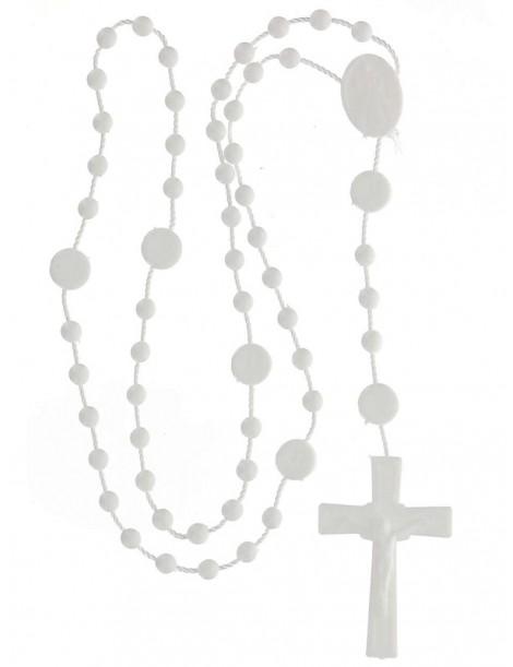 25 Rosario nylon blanco Divina Misericordia